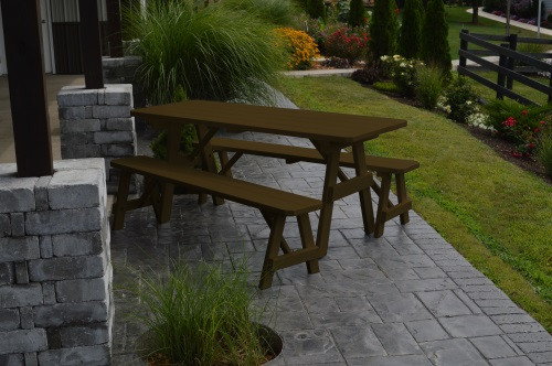 8' Traditional Yellow Pine Picnic Table w/ 2 Benches - Coffee