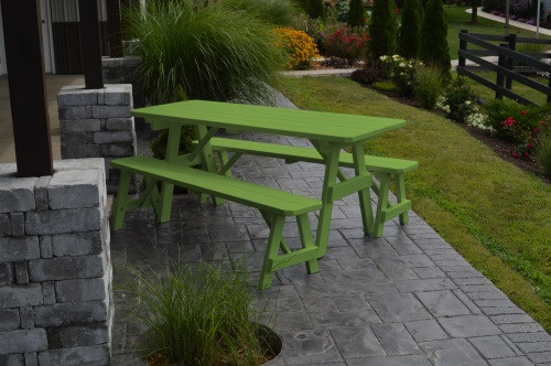 8' Traditional Yellow Pine Picnic Table w/ 2 Benches - Lime Green