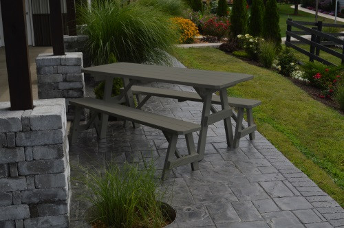 4' Traditional Yellow Pine Picnic Table w/ 2 Benches - Olive Gray
