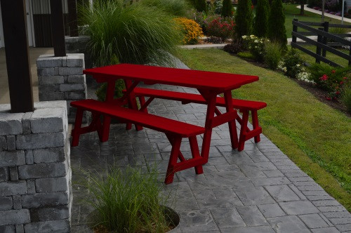 4' Traditional Yellow Pine Picnic Table w/ 2 Benches - Tractor Red