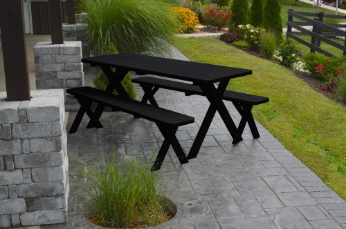 4' Crosslegged Yellow Pine Picnic Table w/ 2 Benches - Shown in Black