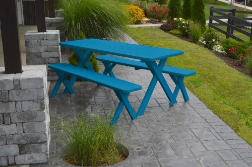 8' Crosslegged Yellow Pine Picnic Table w/ 2 Benches - Caribbean Blue