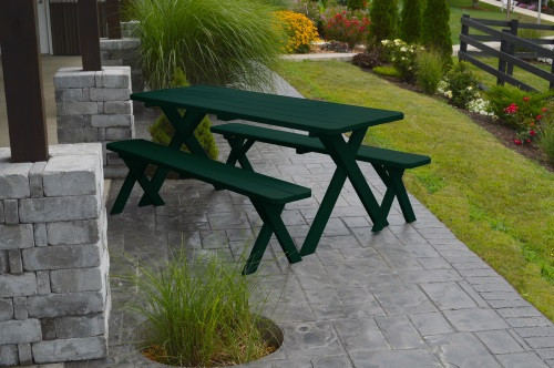 4' Crosslegged Yellow Pine Picnic Table w/ 2 Benches - Shown in Dark Green