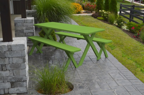 8' Crosslegged Yellow Pine Picnic Table w/ 2 Benches - Lime Green
