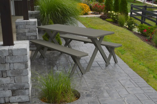4' Crosslegged Yellow Pine Picnic Table w/ 2 Benches - Shown in Olive Gray