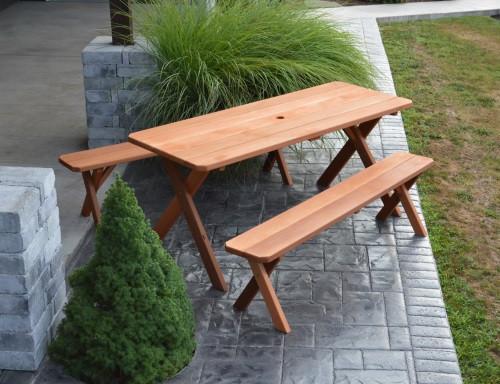 5' Cedar Crosslegged Picnic Table w/ 2 Benches - Cedar Stain