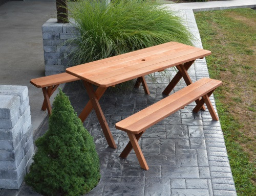 6' Cedar Crosslegged Picnic Table w/ 2 Benches - Cedar Stain