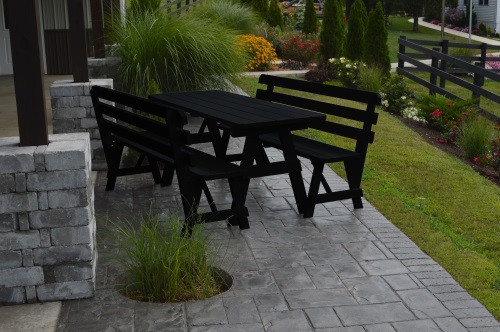 4' Traditional Yellow Pine Picnic Table w/ 2 Backed Benches  - Black