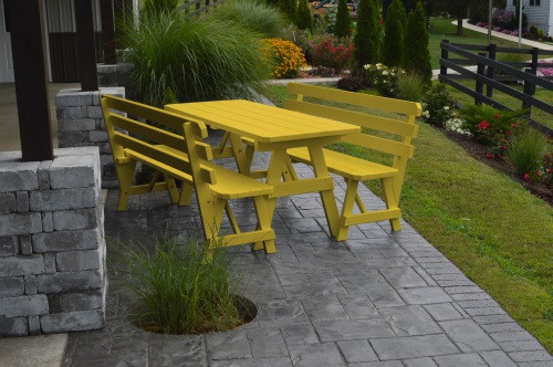4' Traditional Yellow Pine Picnic Table w/ 2 Backed Benches  - Canary Yellow