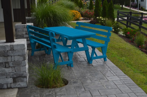 4' Traditional Yellow Pine Picnic Table w/ 2 Backed Benches  - Caribbean Blue