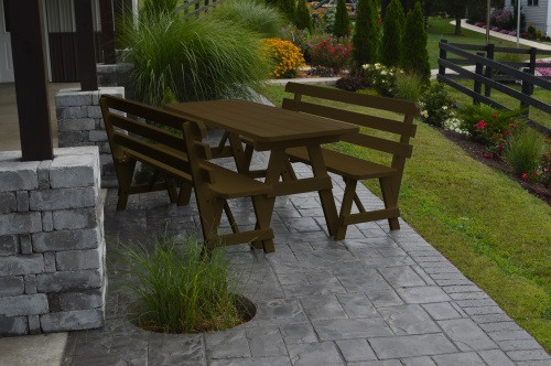 4' Traditional Yellow Pine Picnic Table w/ 2 Backed Benches  - Coffee