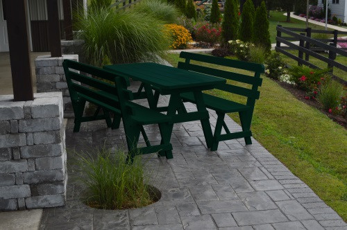 4' Traditional Yellow Pine Picnic Table w/ 2 Backed Benches  - Dark Green