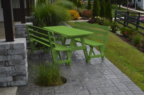 4' Traditional Yellow Pine Picnic Table w/ 2 Backed Benches  - Lime Green