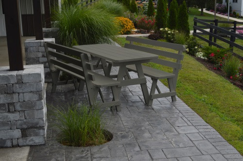 4' Traditional Yellow Pine Picnic Table w/ 2 Backed Benches  - Olive Gray