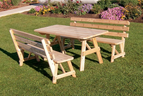 4' Cedar Traditional Table w/ 2 Backed Benches - Unfinished