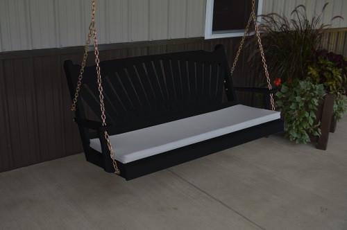 5' Fan Back Yellow Pine Porch Swing - Shown in Black w/ cushion
