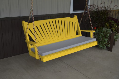 5' Fan Back Yellow Pine Porch Swing - Shown in Canary Yellow w/ cushion