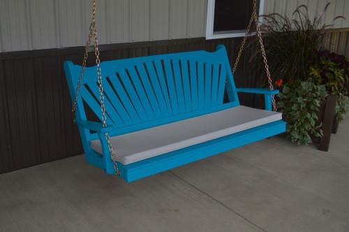 4' Fanback Yellow Pine Porch Swing - Caribbean Blue w/ cushion