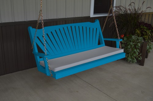 5' Fan Back Yellow Pine Porch Swing - Shown in Caribbean Blue w/ cushion