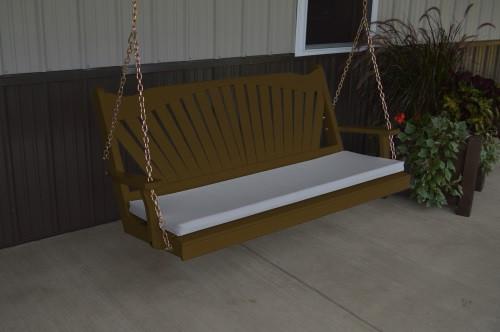 5' Fan Back Yellow Pine Porch Swing - Shown in Coffee w/ cushion
