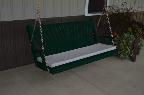 5' Fan Back Yellow Pine Porch Swing - Shown in Dark Green w/ cushion