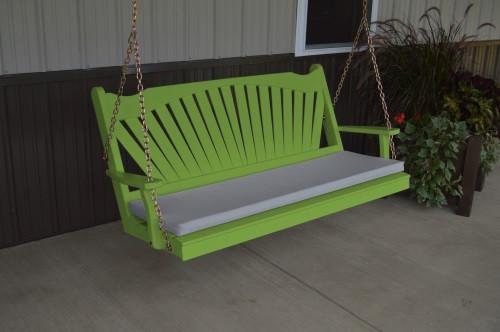 4' Fanback Yellow Pine Porch Swing - Lime Green w/ cushion