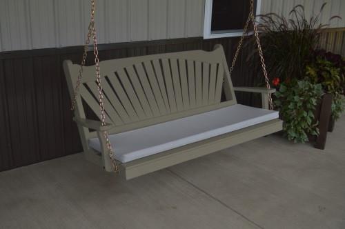 5' Fan Back Yellow Pine Porch Swing - Shown in Olive Gray w/ cushion