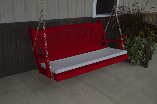 5' Fan Back Yellow Pine Porch Swing - Shown in Tractor Red w/ cushion