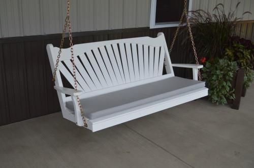 5' Fan Back Yellow Pine Porch Swing - Shown in White w/ cushion