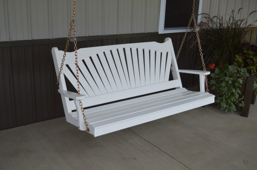 5' Fan Back Yellow Pine Porch Swing - Shown in White