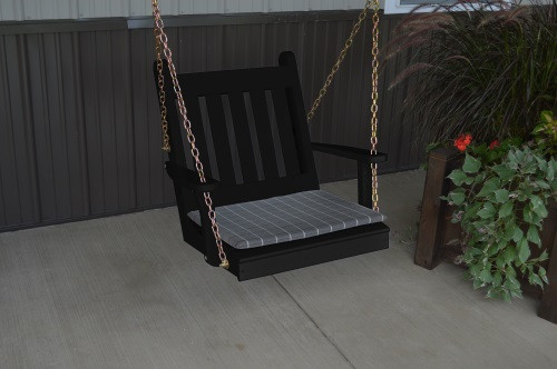 2' Traditional English Yellow Pine Chair Swing - Shown in Black w/ Cushion