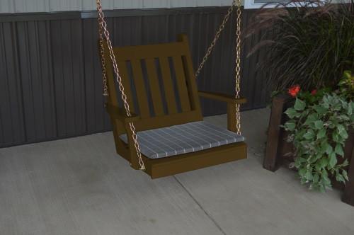 2' Traditional English Yellow Pine Chair Swing - Shown in Coffee w/ Cushion