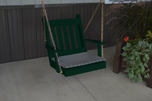 2' Traditional English Yellow Pine Chair Swing - Shown in Dark Green w/ Cushion