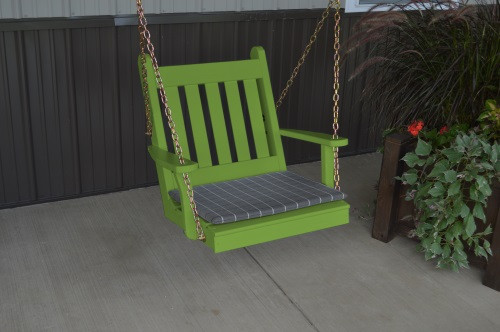 2' Traditional English Yellow Pine Chair Swing - Shown in Lime Green w/ Cushion