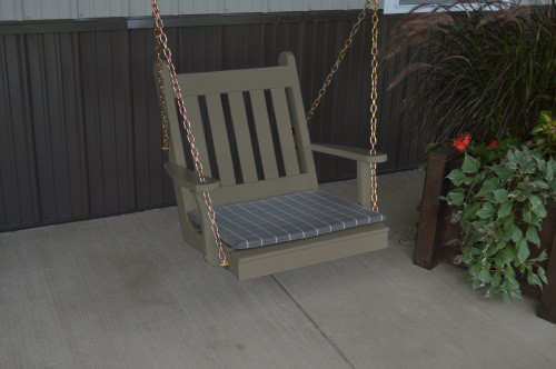 2' Traditional English Yellow Pine Chair Swing - Shown in Olive Gray w/ Cushion