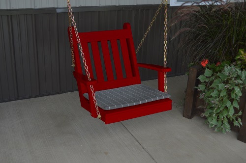 2' Traditional English Yellow Pine Chair Swing - Shown in Red w/ Cushion