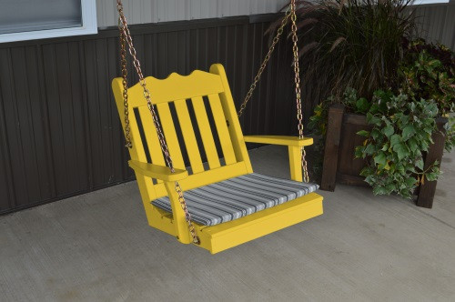 2' Royal English Garden Yellow Pine Chair Swing - Canary Yellow w/ Cushion