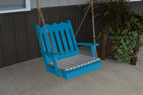 2' Royal English Garden Yellow Pine Chair Swing - Caribbean Blue w/ Cushion