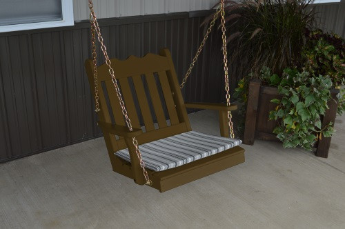 2' Royal English Garden Yellow Pine Chair Swing - Coffe w/ Cushion