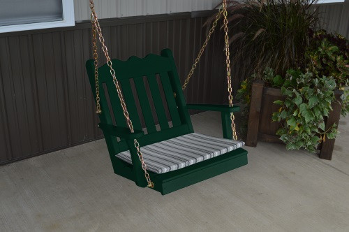 2' Royal English Garden Yellow Pine Chair Swing - Dark Green w/ Cushion