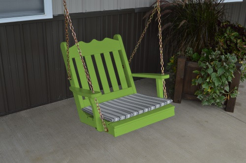 2' Royal English Garden Yellow Pine Chair Swing - Lime Green w/ Cushion