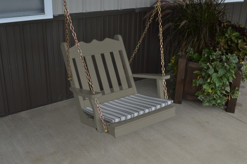 2' Royal English Garden Yellow Pine Chair Swing - Olive Gray w/ Cushion