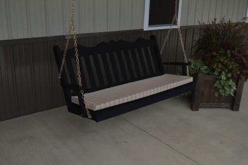 6' Royal English Garden Yellow Pine Porch Swing - Black w/ Cushion