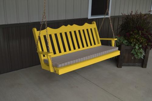 6' Royal English Garden Yellow Pine Porch Swing - Canary Yellow w/ Cushion