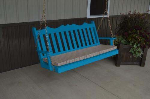 6' Royal English Garden Yellow Pine Porch Swing - Caribbean Blue w/ Cushion