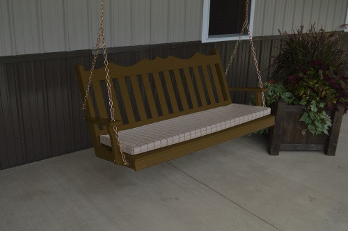 6' Royal English Garden Yellow Pine Porch Swing - Coffee w/ Cushion