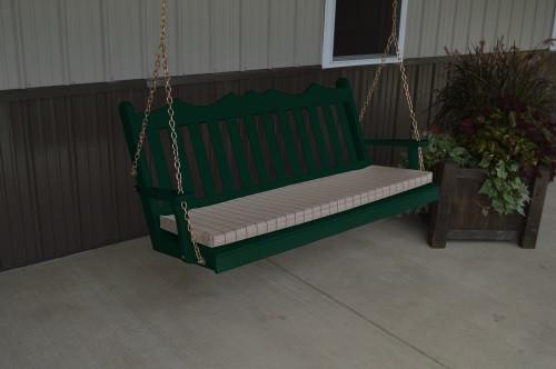 6' Royal English Garden Yellow Pine Porch Swing - Dark Green w/ Cushion
