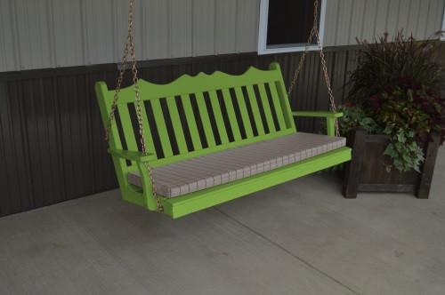 6' Royal English Garden Yellow Pine Porch Swing - Lime Green w/ Cushion