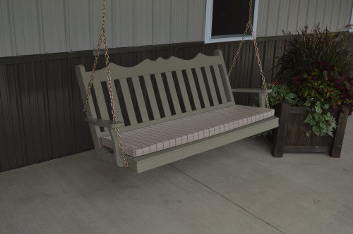 6' Royal English Garden Yellow Pine Porch Swing - Olive Gray w/ Cushion