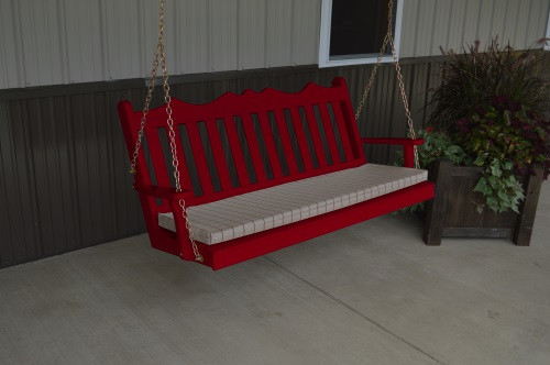 4' Royal English Garden Yellow Pine Porch Swing - Tractor Red w/ Cushion